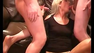 British Milf Gets Her First Bukkake Party