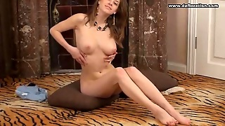 She Strips To Sexy Panties And Models The Big Tits