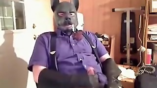 Office Wolf Enjoys A Pipe And Jacks-Off