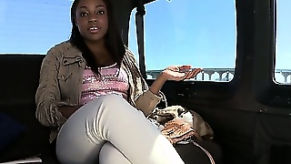Ebony Bitch Gets In The Bus For A Ride On The Bangbus And Chats