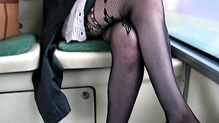 Flashing Fashion Stockings And Pussy In A Bus