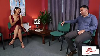 Busty Euro Teasing Wanking Guy In Office