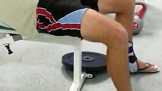 My Gym Partner' Bulge While He Works Out