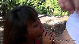 Asian Milf Sucking In The Park
