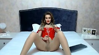 Busty Blonde Tranny Loves Playing Her Big Cock