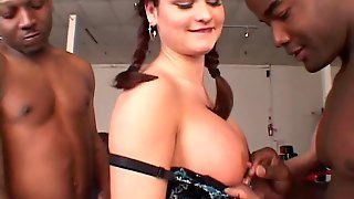 Pigtails Lady In Nylon Stocking Being Drilled Mercilessly