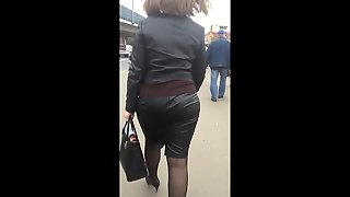 Big Ass In Leather Skirt