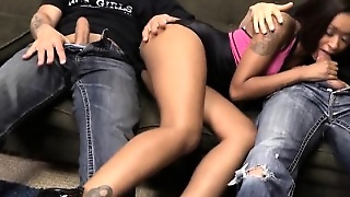 Hot Inked Ebony Skin Diamond Double Penetrated On The Couch