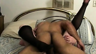 Redheaded Granny Blows His Black Dick And Gets Her Cunt Drilled