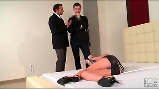 Slave Girl Looks Sexy In Black Leather Dress