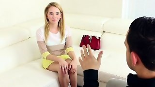 Engaging Blonde Teen Chick Angel Smalls Has Her Tight Twat