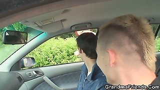 Two Dudes Pick Up Hot Grandma And Screw Outside