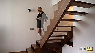 Old4K. New Morning Starts For Blond Hair Babe And Her Old...
