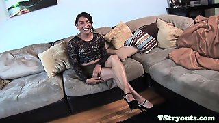 Ebony Tgirl Masturbating And Cocksucking