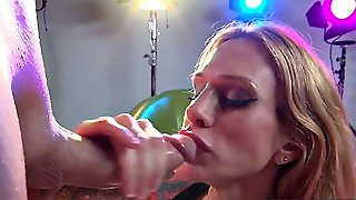 Blonde Milf Sarah Shows Off Her Cocksucking Skills