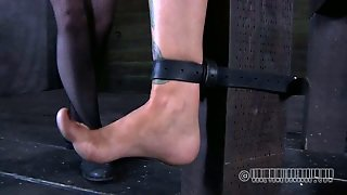 Red-Haired Dominatrix Sticks Needles Under Her Slave's Fingernails