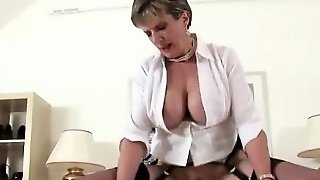 Mature Lady Milks Cock For Facial