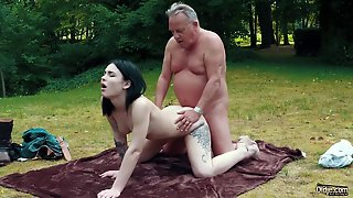 Romantic Picnic Turns Into Sexy Fuck For Grandpa And Teen