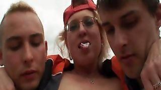 Granny Boned Outside By The Two Guys