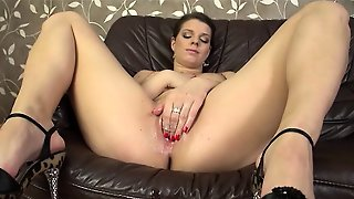 Brunette Fingering Herself On Couch