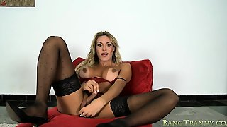 Big Boobs Shemale In Lingerie Gets Her Juicy Ass Banged