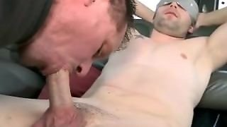 A Straight Blindfolded Hunk Is Tricked Into A Gay Blowjob