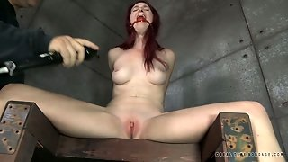 Tied Redhead With Long Legs Ashley Lane Gets Dildo Attacked Rough