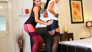 Brunette Lezzies In Nylons Teasing