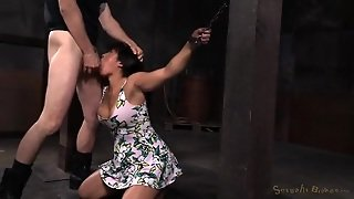 Asian Chained In The Dungeon And Face Fucked