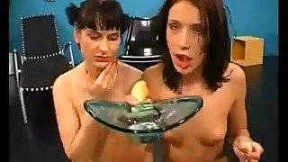 Bukkake Babes Are Licking Cum From A Plate