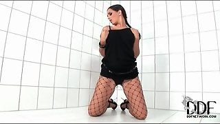 Little Black Dress And Sexy Fishnet Pantyhose
