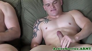 Buff Military Amateur Jerking And Cocksucking