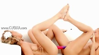 Blondes Using Huge Double Dildo