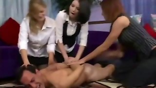 Hot Femdom Mistresses Over Come Their Nude Slave