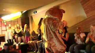 Ladies Cheer For The Dancing Stripper In A Bear Costume