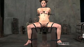 Juggy Brunette Doxy Gets Her Tits Squeezed Hard And Her Hootchie Dildo Fucked