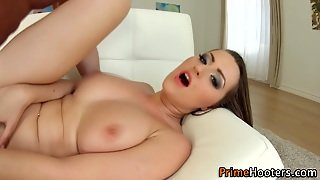 Busty Babe Swallows Cum