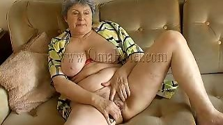 Grey Haired Bbw Granny Masturbates With Vibrator On Couch