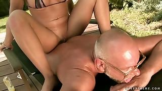 Older Man, Teens, Outdoor, Bikini, Massage, Blowjob, Old And Young, Brunette, Pussy Licking, Busty, Shaved