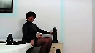 Mature Woman With Thick Black Dildos