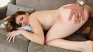 Brunette Stacey Leann With Round Bottom And Trimmed Twat Loves Getting Her Nice Face Dreamed In Jizz