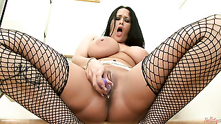 Carmella Bing With Huge Melons And Bald Snatch Takes Dildo Up Her Snatch After Sexy Striptease