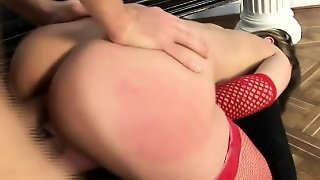 Busty Blonde In Red Stockings Maristella Reveals Her Love For Anal Sex