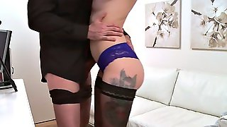 Redhead In Stockings Rides Fake Agent