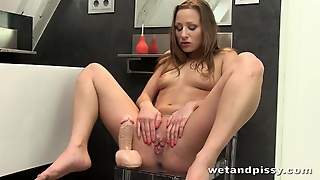 Crazy Hottie Mounts Her Toy And Pisses Herself