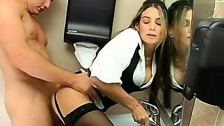 Stockinged Milf Gets Dripping Cunt Fucked