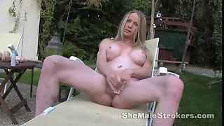 Blonde Shemale Laura Stroking Outside