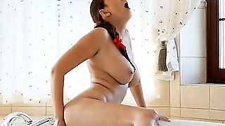 Ultra Big Tits In Bathroom And Red Dildo