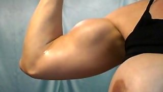 Big Bicep Flexing And Oiling