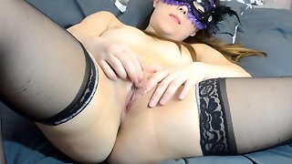 Amateur Girl In Mask Masturbates Tight Shaved Pussy With A Dildo